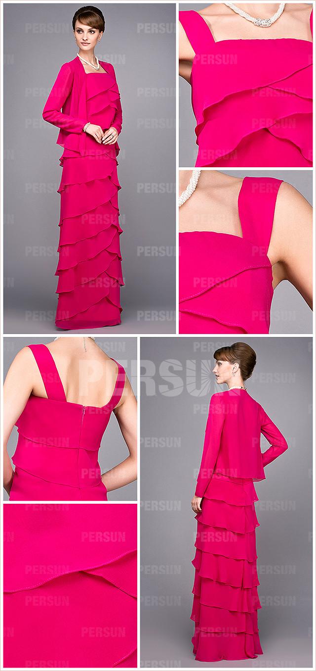 robe rouge longue pour la mère de la mariée