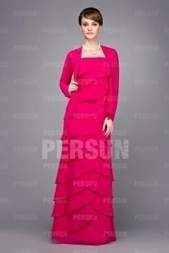 Robe longue rose bonbon colonne à volants avec bretelles