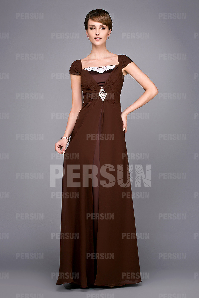 Robe longue pour mère de la mariée en mousseline
