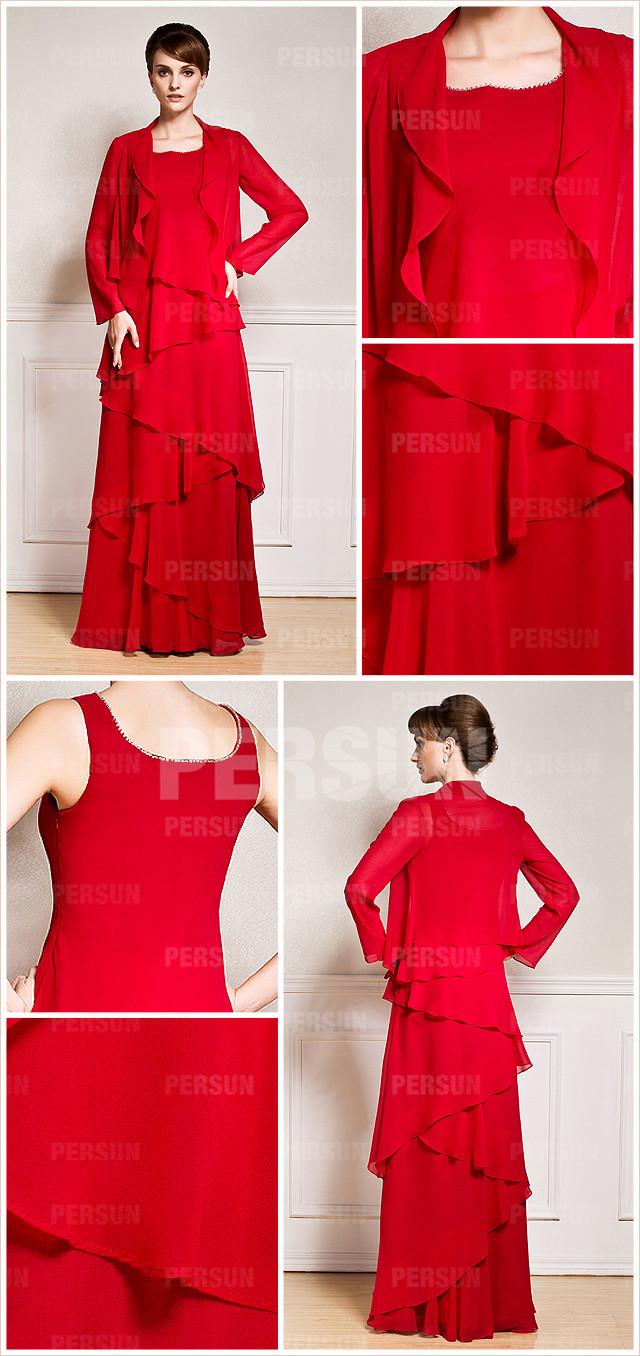 robe de soirée rouge longue pour mère de mariée au cérémonie
