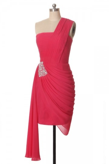 robe mère de mariée asymétrique orné de strass