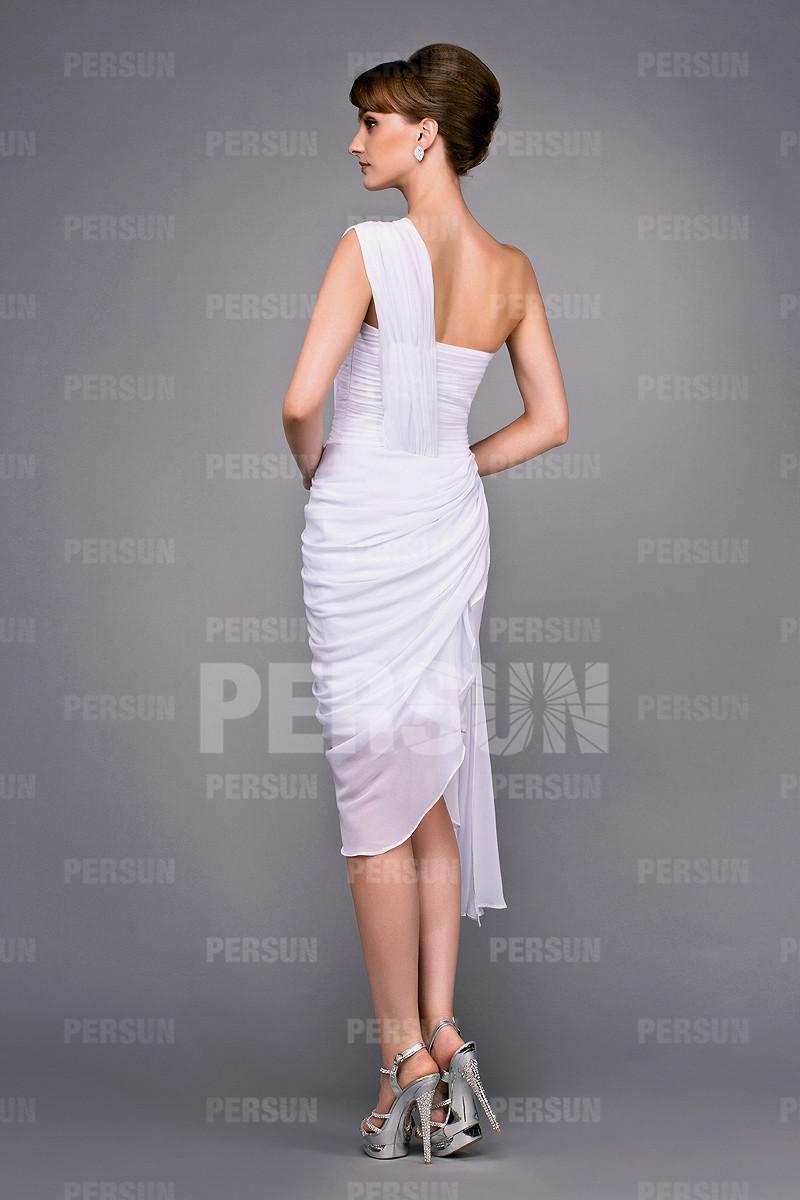 Robe courte moulante asymétrique drapée pour cocktail mariage