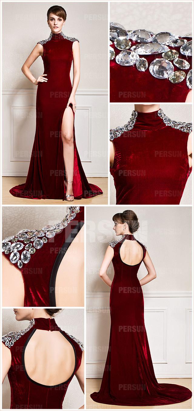 robe bordeaux longue dos découpé pour soirée ou gala