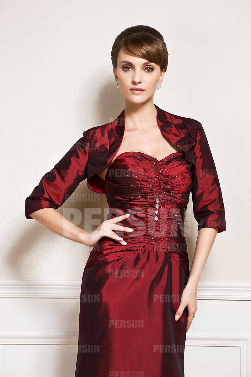 Robe mère de marié rouge foncé style trompette longue sol