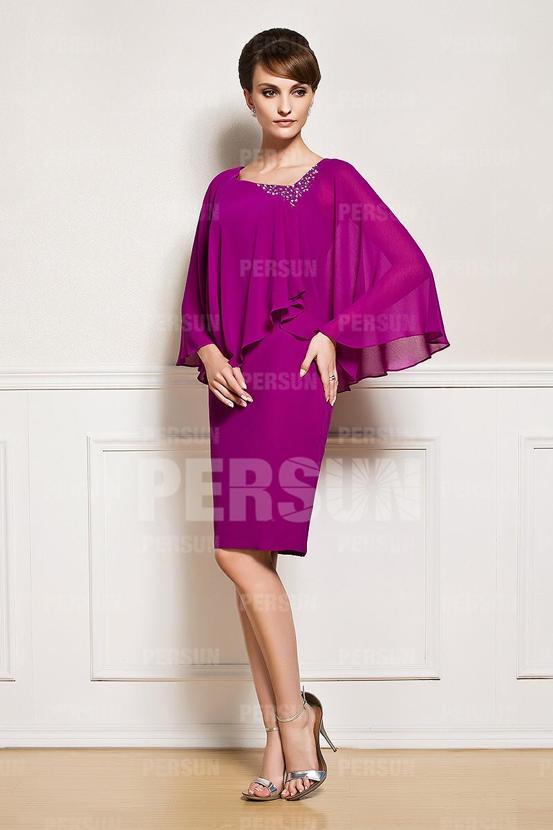 Robe cocktail cape pour mère encolure irrégulier courte genoux