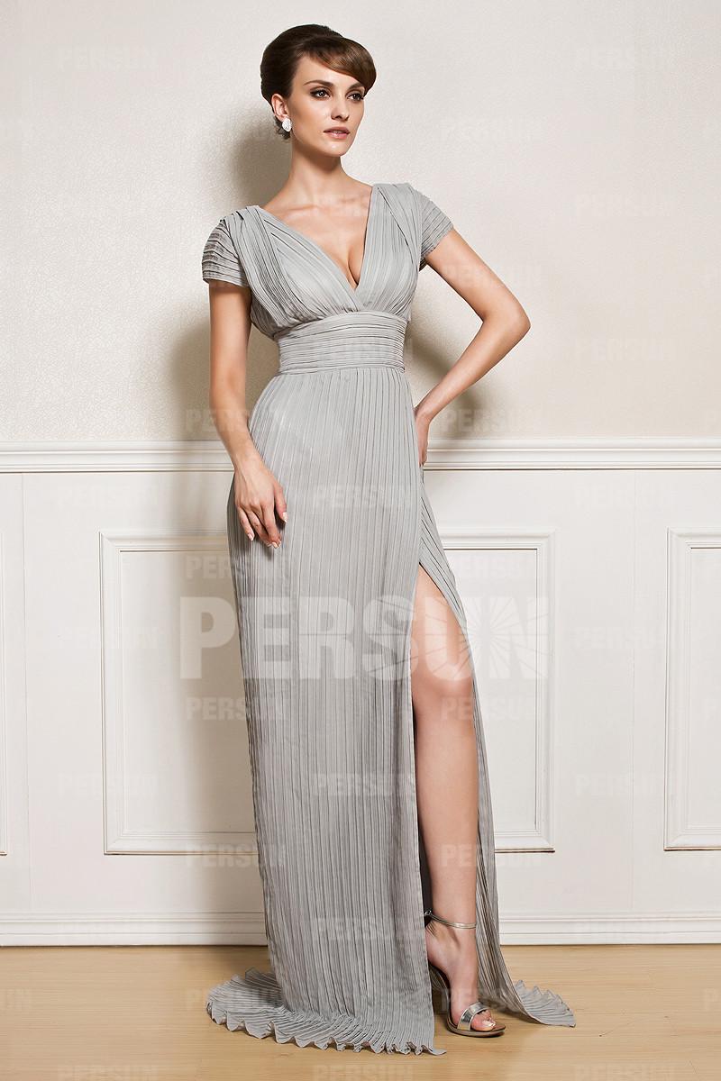 robe cocktail sexy plissée col v plongeant jupe fendue avec manches