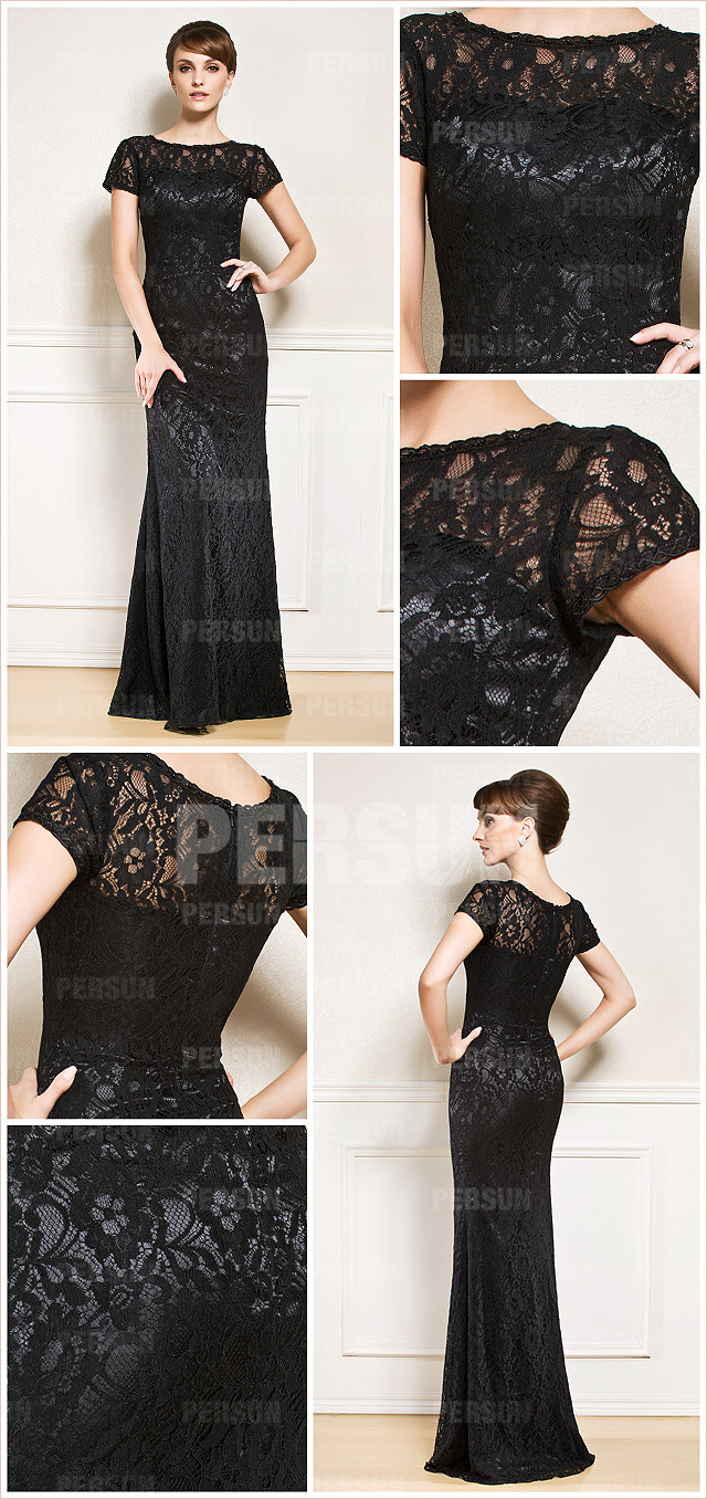 Elégante robe colonne dentelle noire pour soirée avec manche courte
