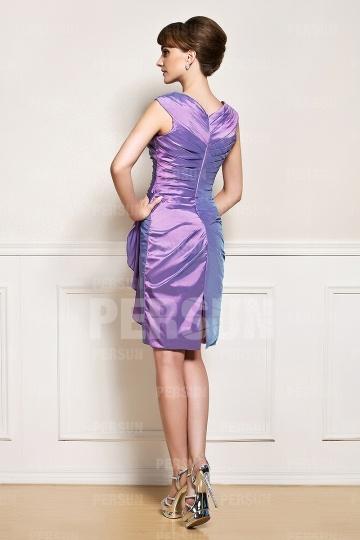Robe taffetas courte genoux avec drapé