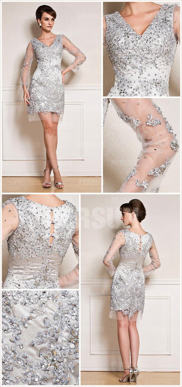 robe de soirée manche longue transparente appliquée pour gala