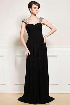 Robe noire longue à bretelle pailletée