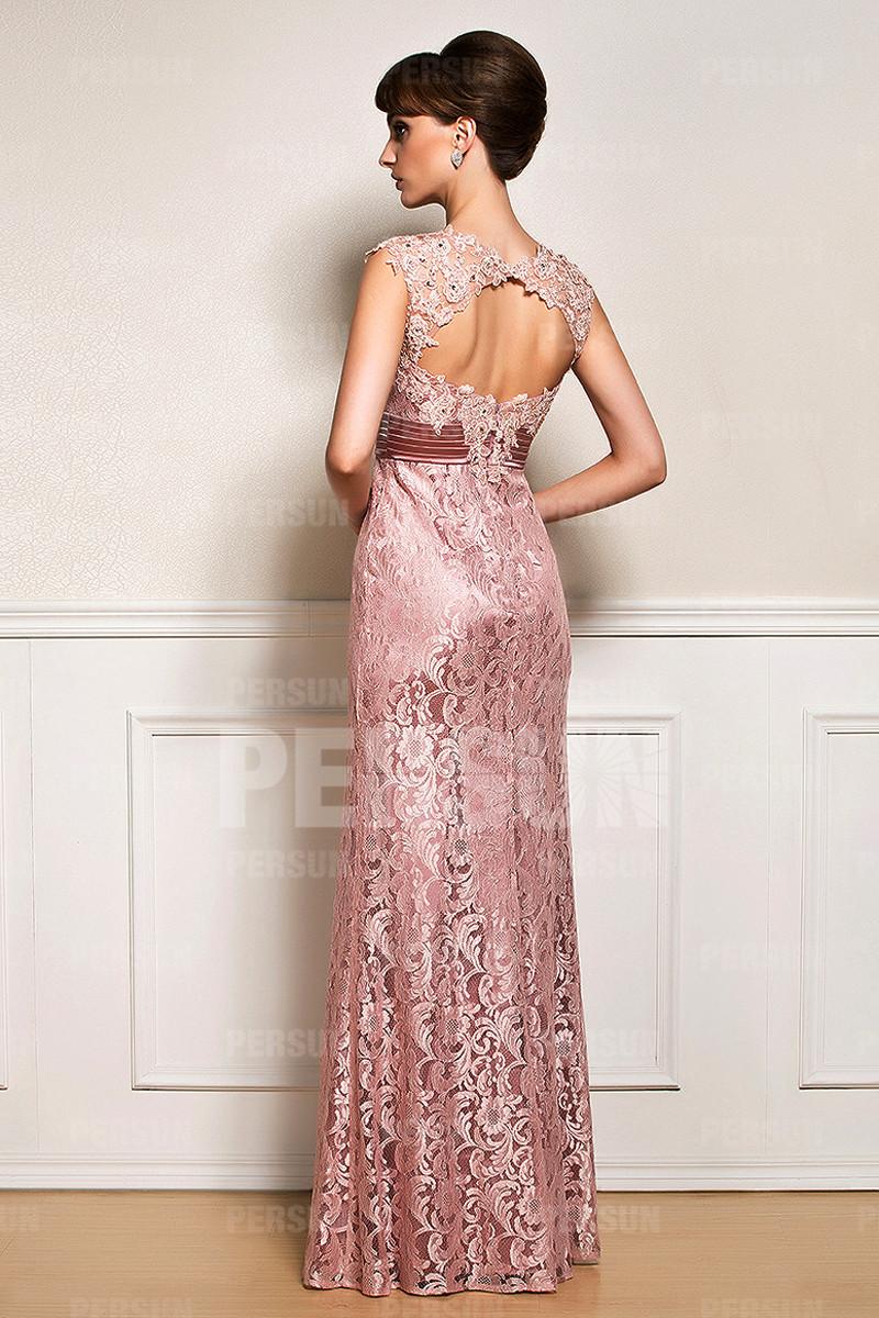 Robe de soiree longue avec dentelle rose