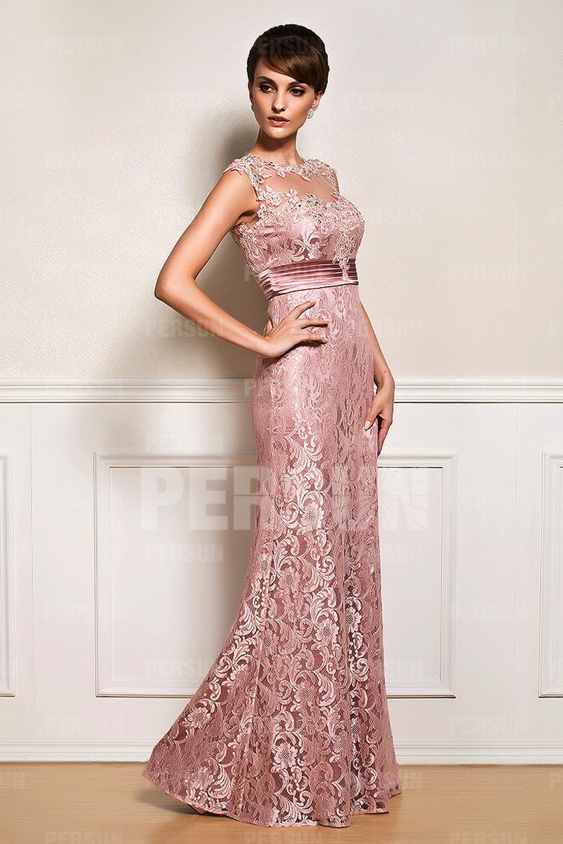 Robe soirée longue empire en dentelle rose