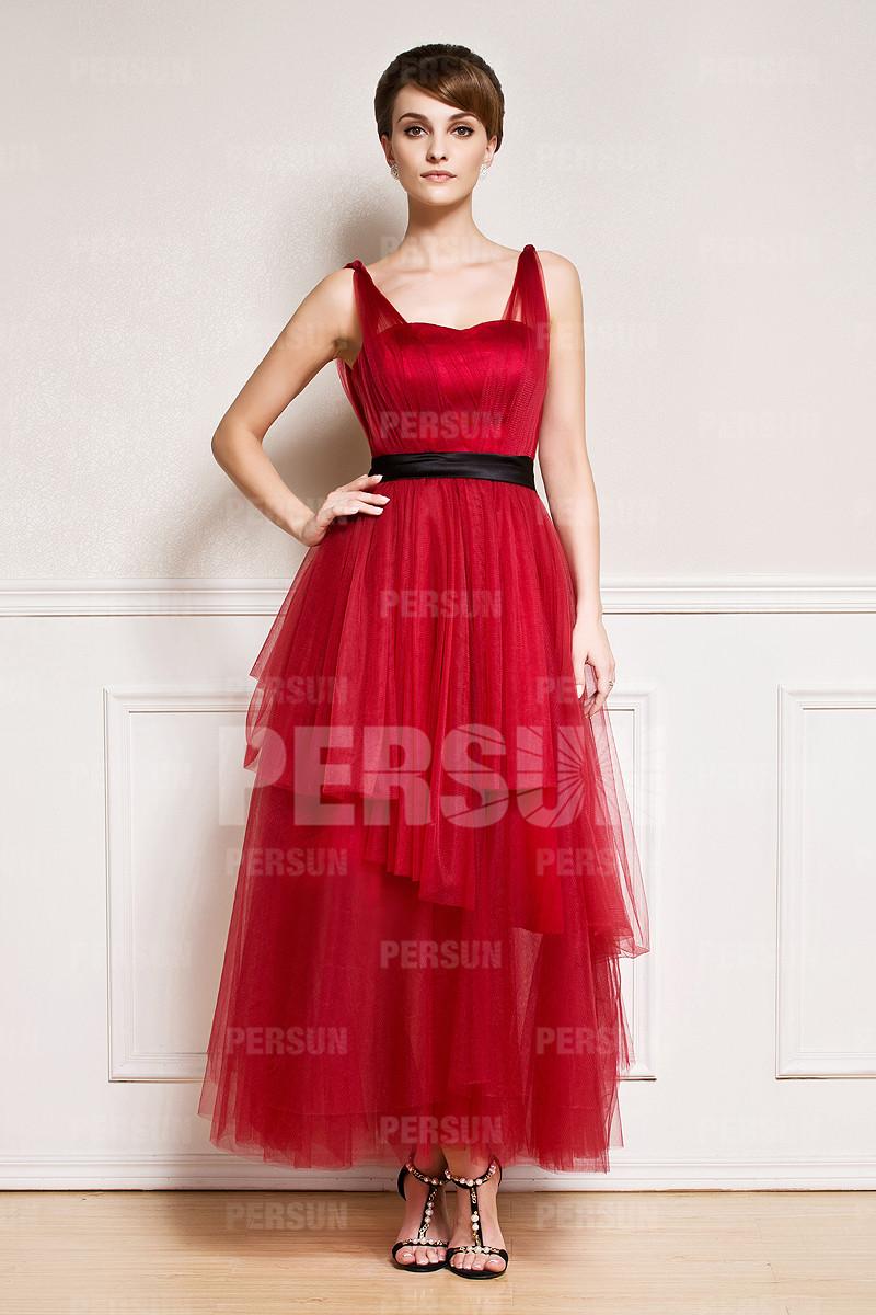 robe rouge en tulle longueur cheville jupe évasée pour mère de mariée