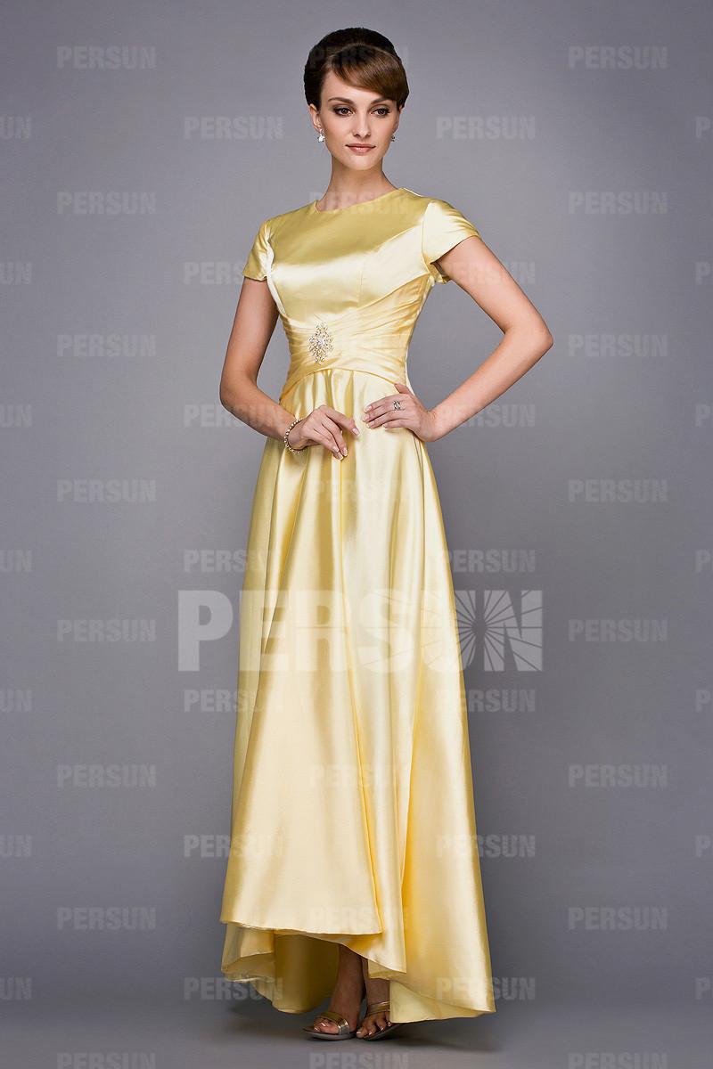 robe soirée jaune en satin avec mancherons pour mariage