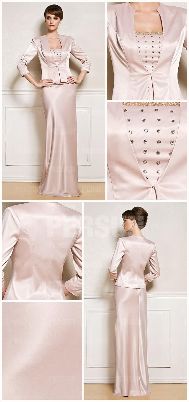 Tailleur élégante colonne style modeste pour mère du marié
