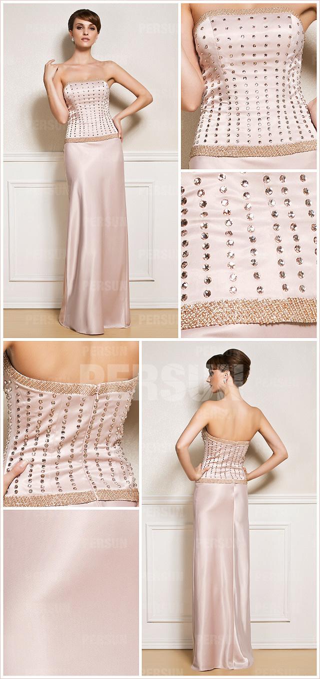robe de soirée longue bustier haut ornée de bijoux