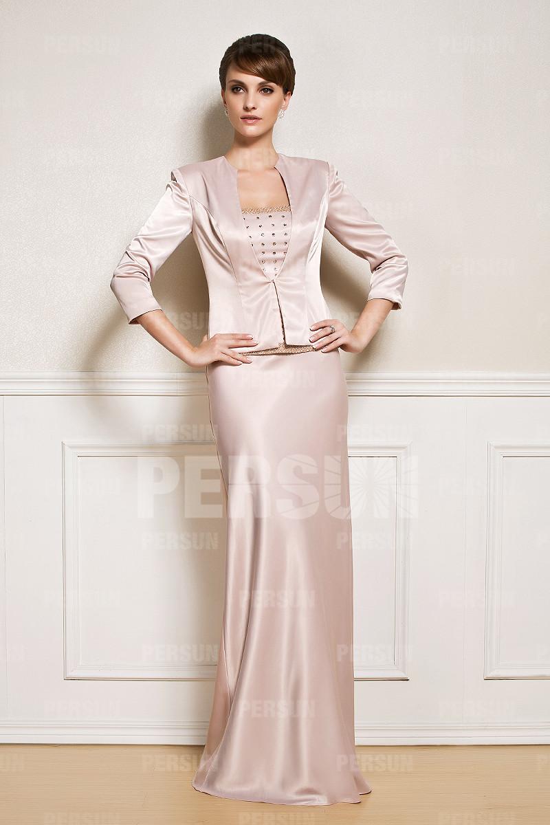 tailleur longue rose clair bustier embelli de strass