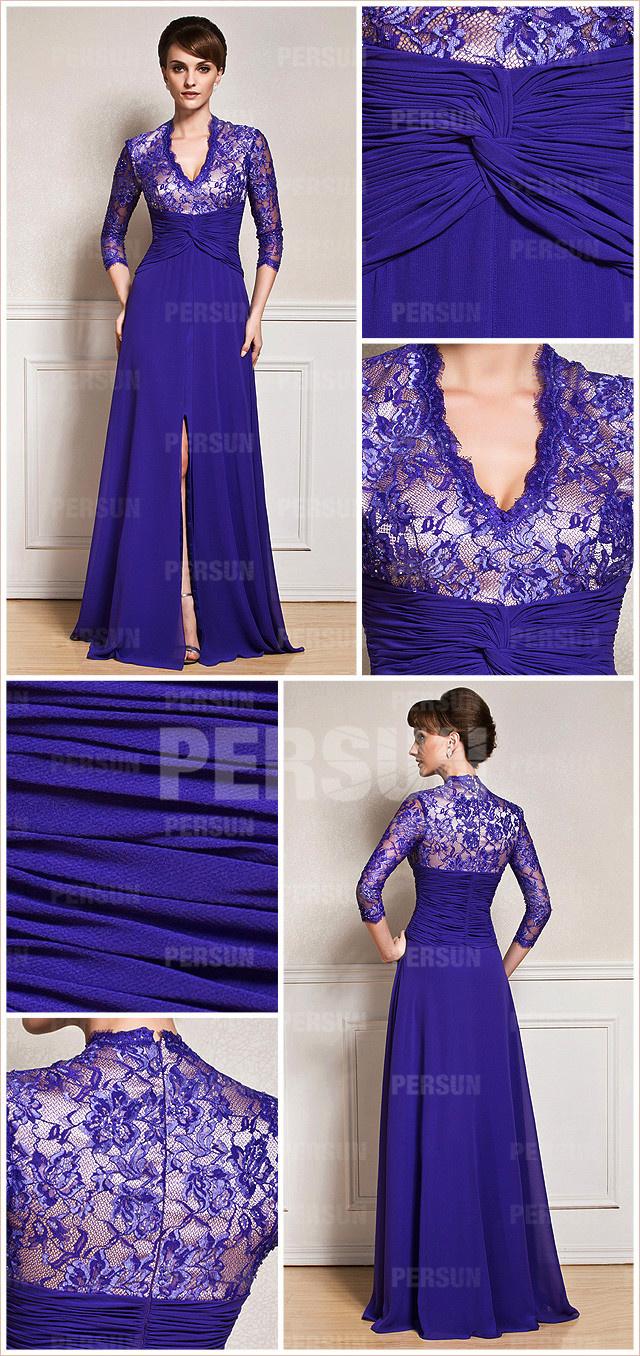 robe Longue à amnche longue prune & fendue