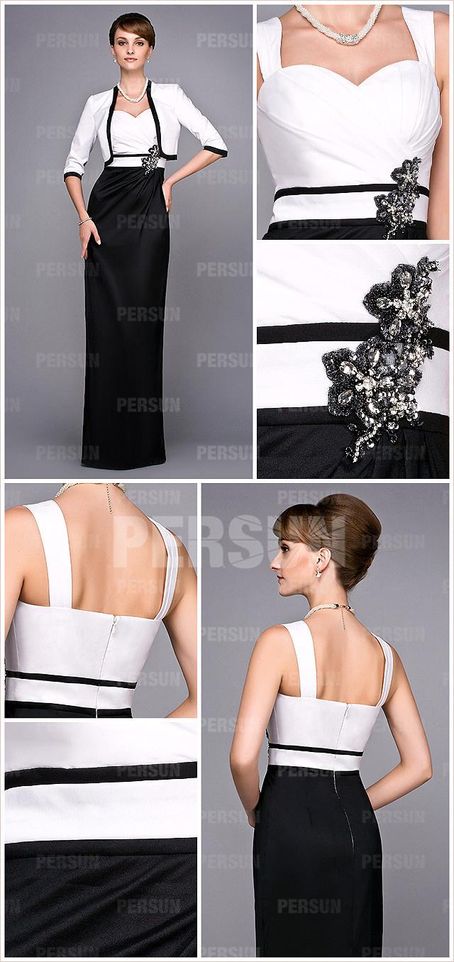 Robe cocktail bicolore noir et blanc de femme habillée style colonne taille avec bijoux
