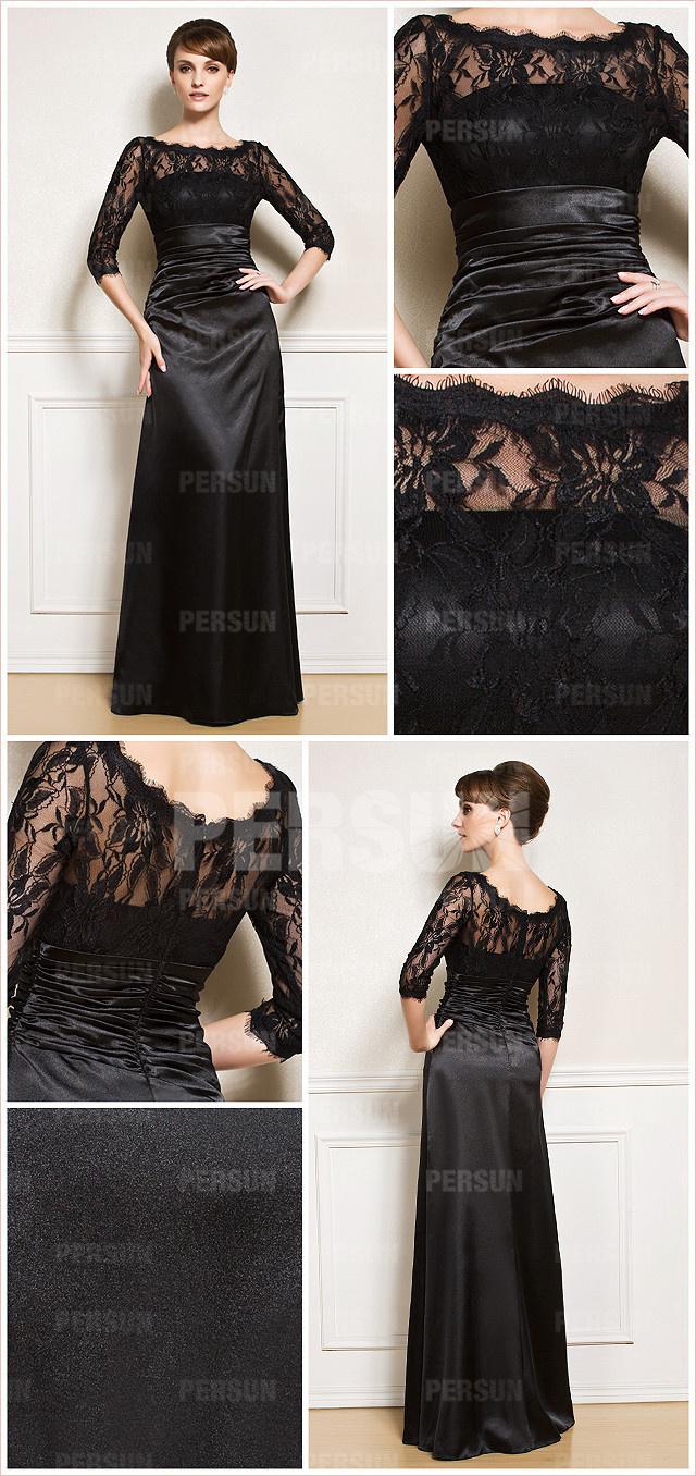 robe de soirée longue noire haut dentelle noire à encolure bateau