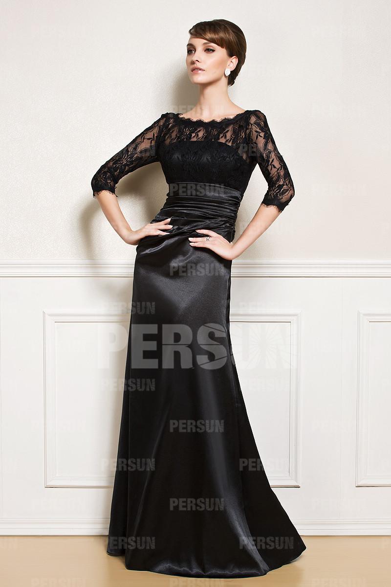 robe longue noire haut en dentelle pour soir e. Black Bedroom Furniture Sets. Home Design Ideas