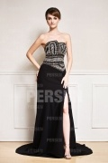 Court train formal Evening gown with Strutural cut designed Sequin bodice