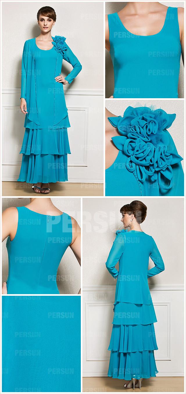 robe de soirée bleu longue colonne orné de fleurs