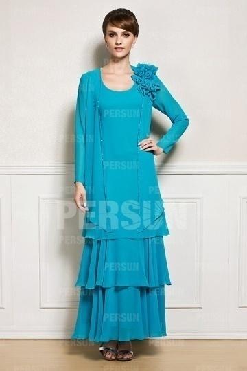 Robe mère de la mariée bleu longue à volants avec boléro