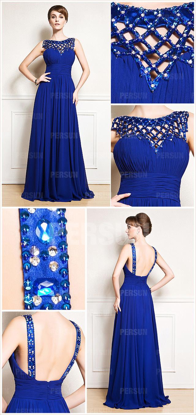 tenue mère mariée robe bleu roi col rond avec strass