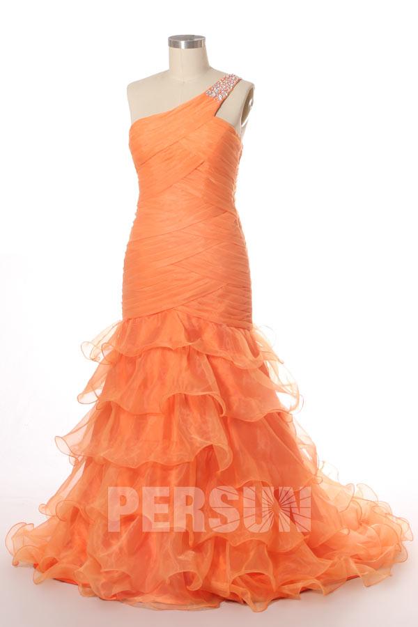 Robe bal plissée sirène asymétrique jupe volante