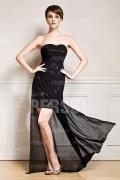 Chic A-Linie Herz-Ausschnitt schwarzes Abendkleid aus Chiffon