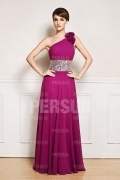 Empire Fuchsia tone One shoulder long mother of the bride dress