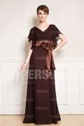 Robe longue marron Col V à nœud
