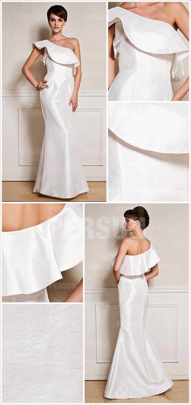 Robe élégante de soirée blanche col asymétrique à volants