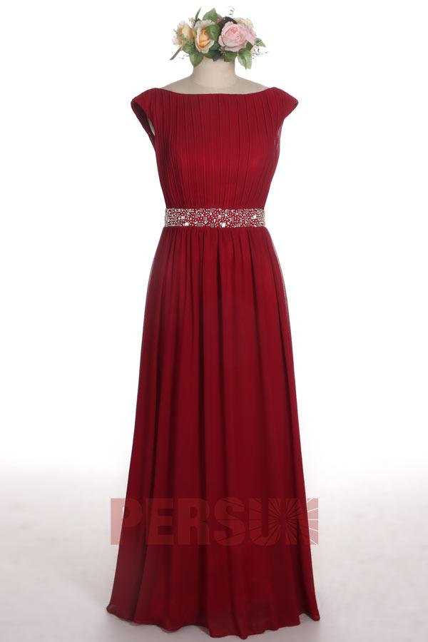 robe de mère de marié bordeaux simple bustier plissé mancheron taille ornée de sequins
