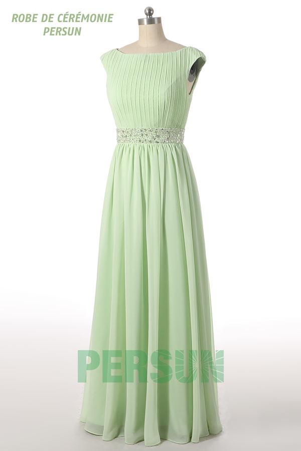 robe de soirée longue empire vert pastel col bateau plissé taille ornée de bijoux