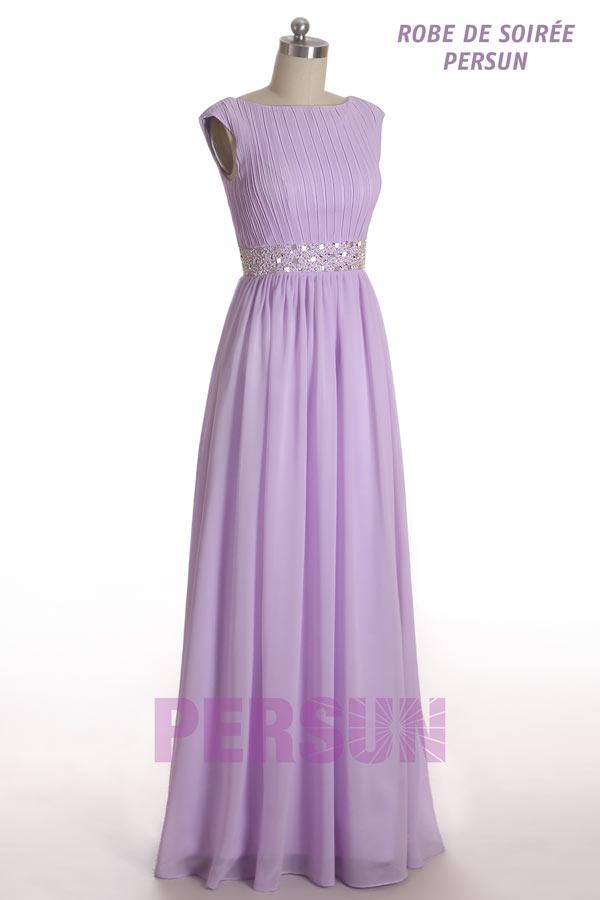robe de mère de mariée lilas longue col bateau taille ornée bijoux