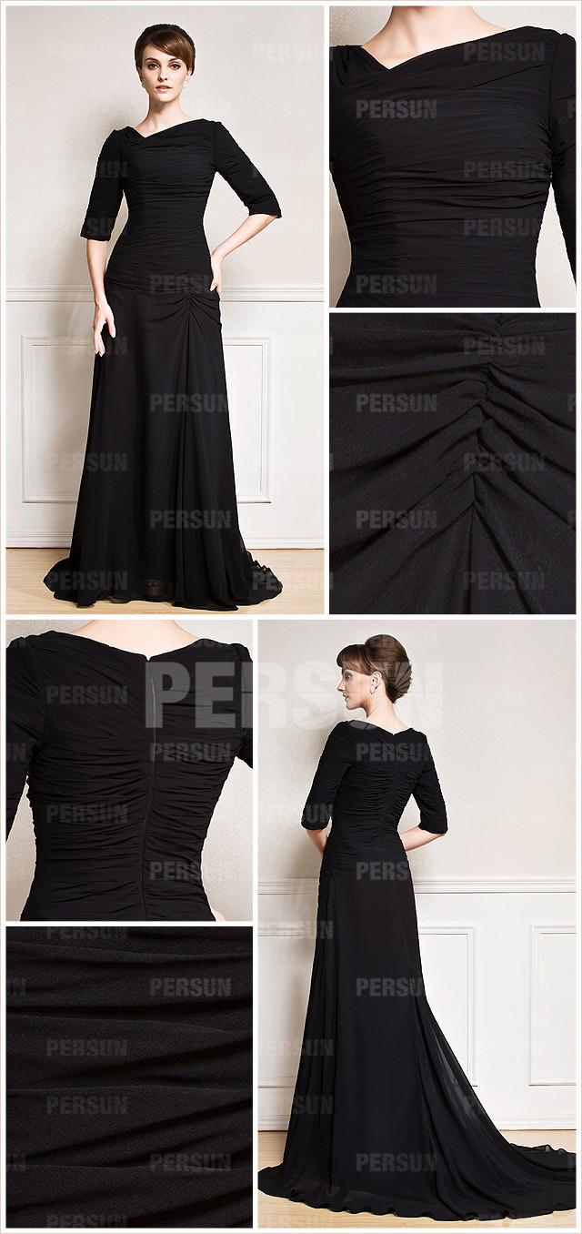 longue robe noire ruchée à traîne Chapelle