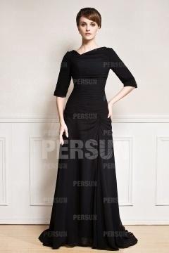 Robe soirée noire longue drapé encolure asymétrique