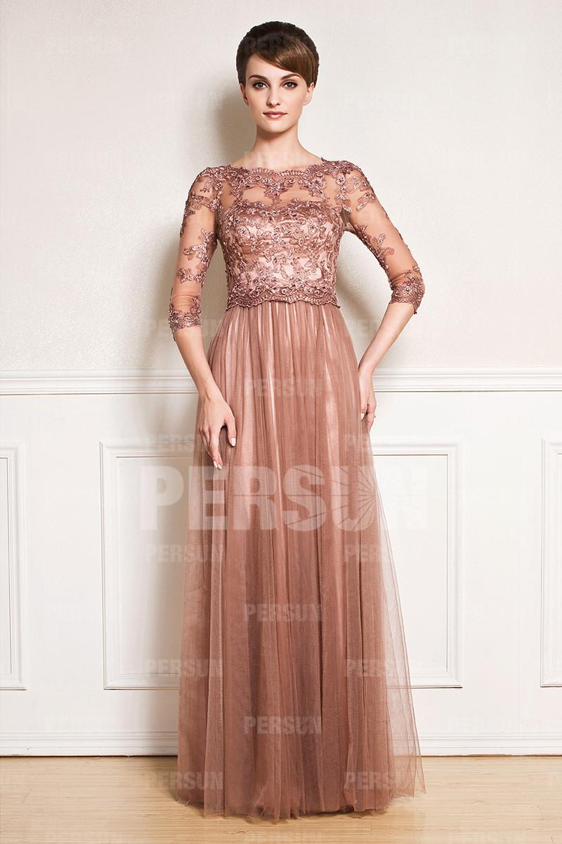 Chic robe soirée en tulle avec détail transparent