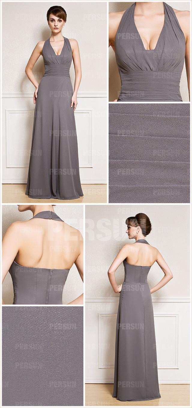 robe grise longue pour mariage sans trop fioriture