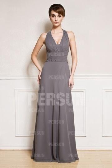 Sexy robe longue à col américain mousseline gris ombre