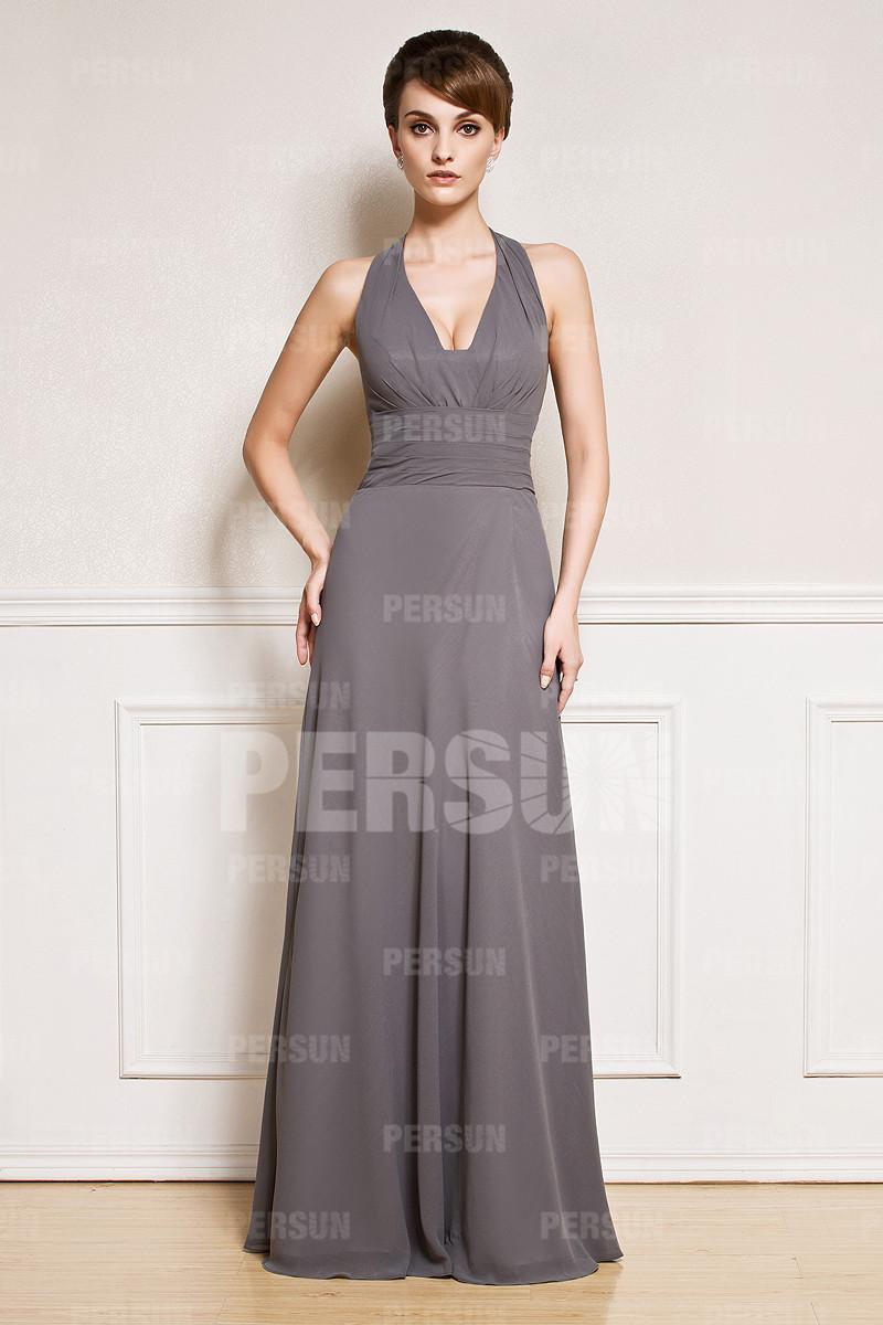 Sexy robe longue sol à col américain