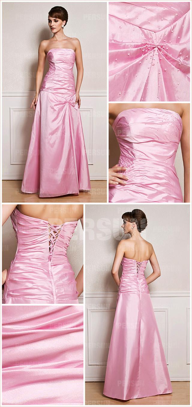 Allure robe rose bustier droit à paillettes simple pour soirée mondaine