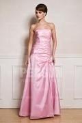 Schlichtes Trägerlos Rosa A Linie Langes Perle Abendkleider