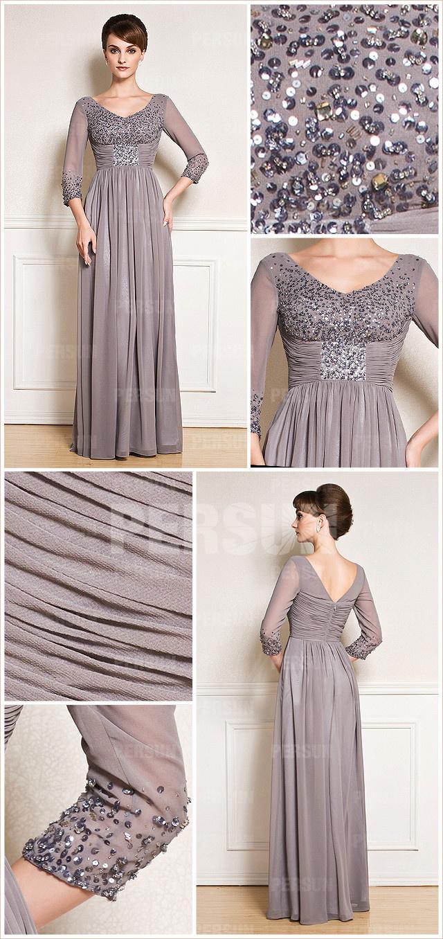 robe de soirée havane ornée de paillettes au niveau de la poitrine