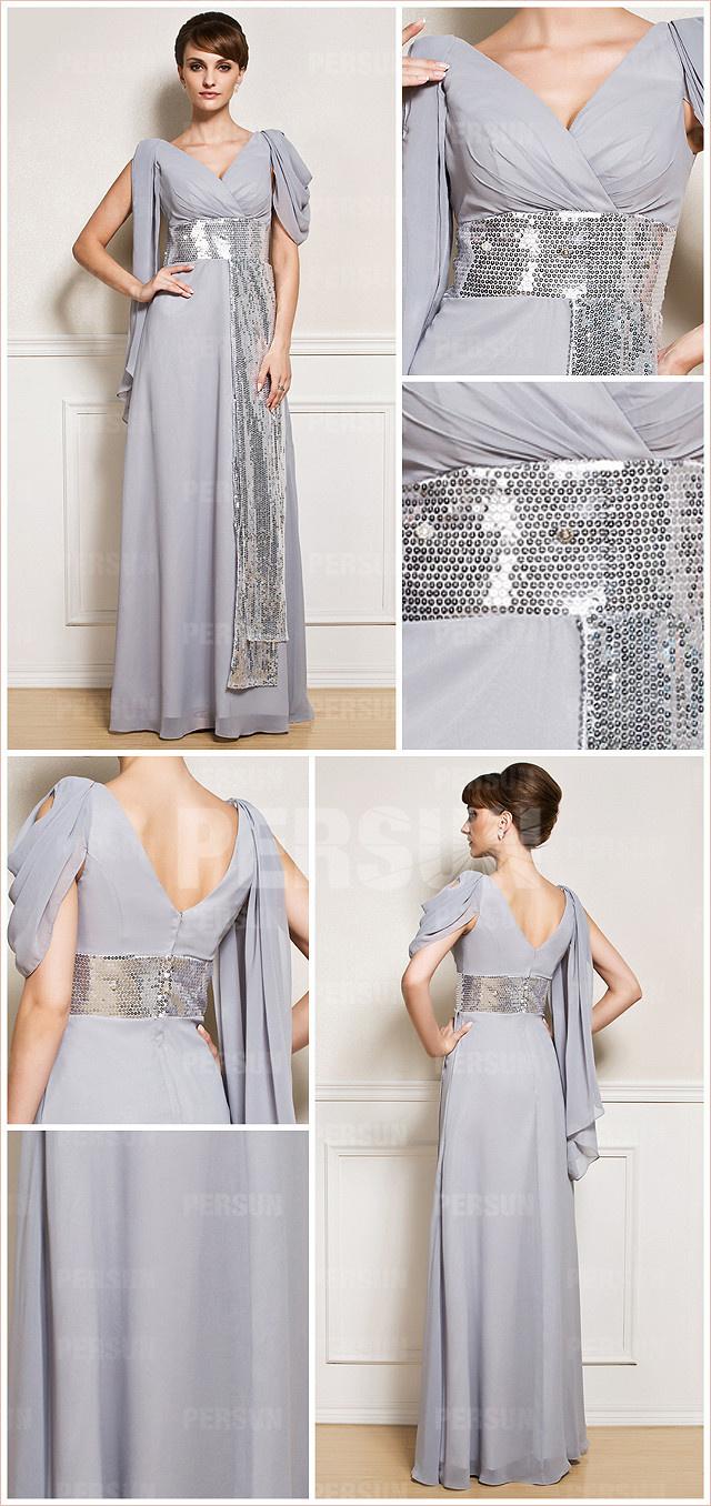 tenue grise longue à ceinture pailletée col V pour mariage