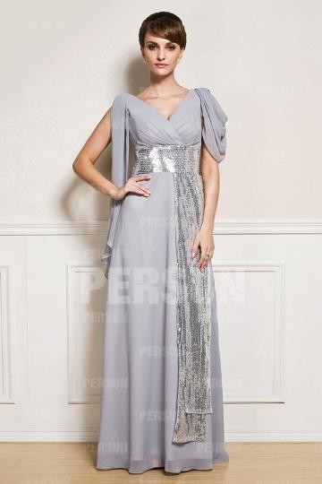 Robe en mousseline grise avec ruban en paillettes