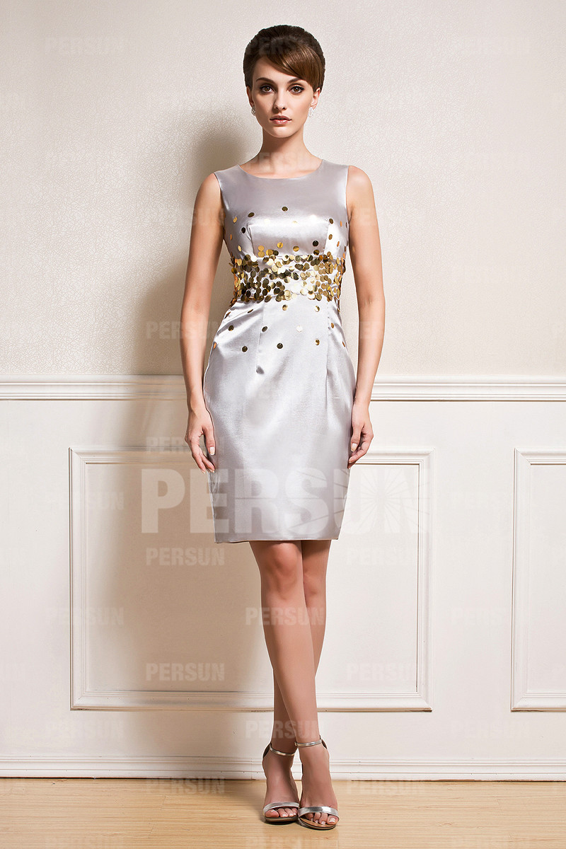Etui-Linie Boot-Ausschnitt silber Sequins Knielang  Sequins Abendkleid