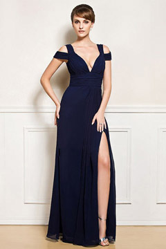 Sexy Robe de cocktail longue fendue bleu marine